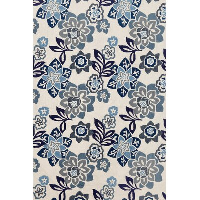 Dazey Blue/White Outdoor Area Rug Rug Size: 83 x 116