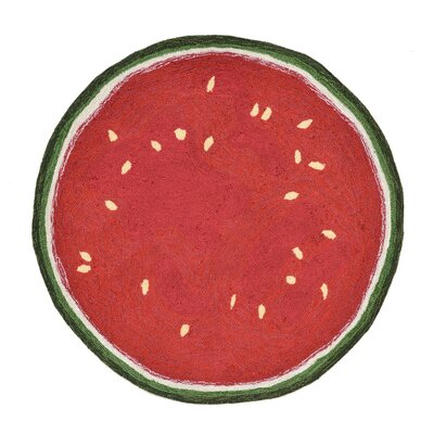 Ismay Hand-Tufted Red Indoor/Outdoor Area Rug Rug Size: Round 3