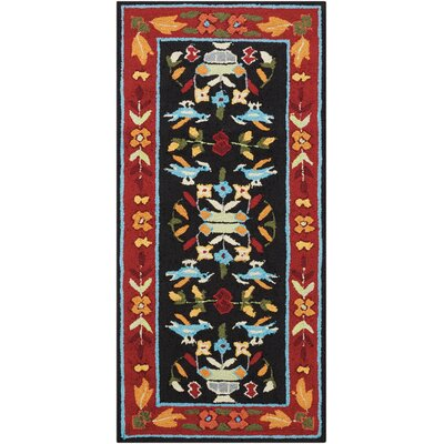 Chatelaine Hand-Tufted Black/Red Area Rug Rug Size: 36 x 56