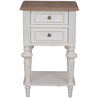 Madison Indoor 2 Drawer End Table Finish: Antique White