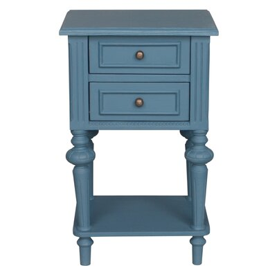 Saire Indoor 2 Drawer End Table Finish: Antique Blue