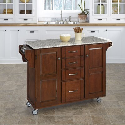 Adelle-a-Cart Kitchen Island with Granite Top Base Finish: Cherry