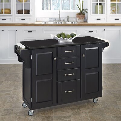 Adelle-a-Cart Kitchen Island with Granite Top Base Finish: Black