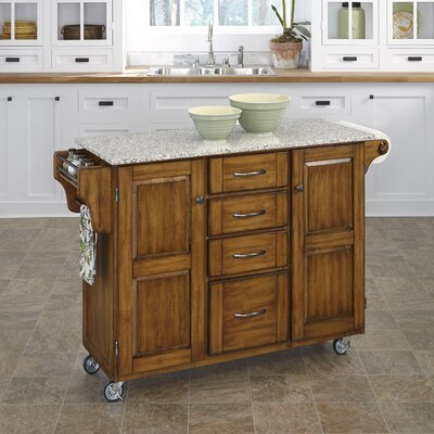 Adelle-a-Cart Kitchen Island with Granite Top Base Finish: Oak
