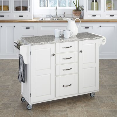 Adelle-a-Cart Kitchen Island with Granite Top Base Finish: White