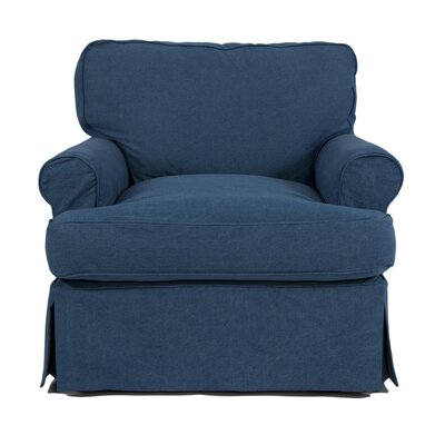 Callie Slipcovered Armchair Color: Indigo Blue