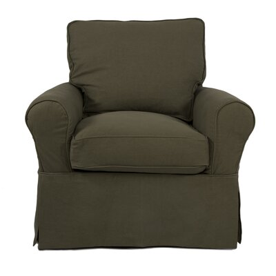 Callie Slipcovered Swivel Armchair Upholstery: Forest Green