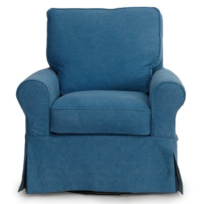 Callie Slipcovered Swivel Armchair Upholstery: Indigo Blue