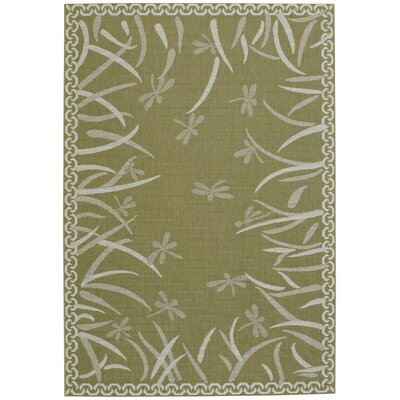 Crawford Dragonfly Machine Woven Pistachio Area Rug Rug Size: 5 3 x 7 6