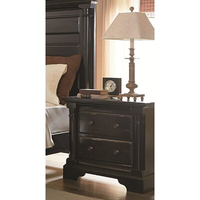 Findlay 2 Drawer Nightstand Color: Aged Black