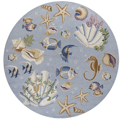 Labrosse Blue Nautical Novelty Rug Rug Size: Oval 26 x 46