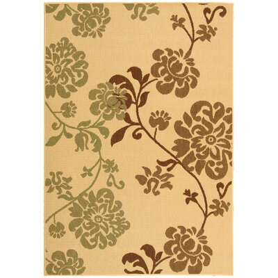 Laurel Natural Brown/Olive Outdoor Rug Rug Size: Rectangle 53 x 77
