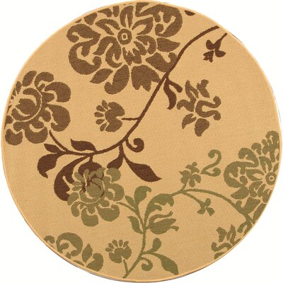 Laurel Natural Brown/Olive Outdoor Rug Rug Size: Round 53