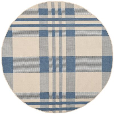 Frazier Beige/Blue Indoor/Outdoor Area Rug Rug Size: Round 67