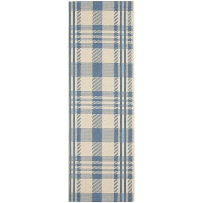 Laurel Beige/Blue Indoor/Outdoor Rug Rug Size: Runner 24 x 67