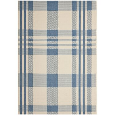 Laurel Beige/Blue Indoor/Outdoor Rug Rug Size: 53 x 77