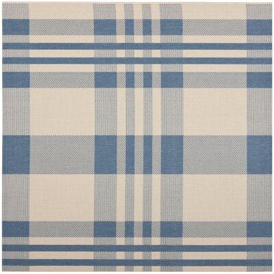 Laurel Beige/Blue Indoor/Outdoor Rug Rug Size: Square 67