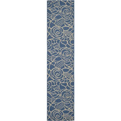 Laurel Blue & Beige Outdoor Area Rug Rug Size: Rectangle 27 x 5