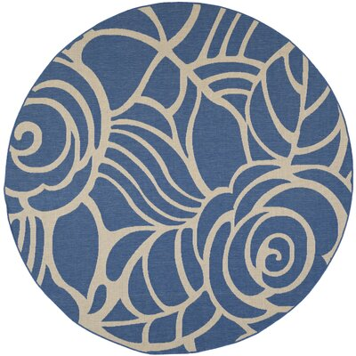 Laurel Blue & Beige Outdoor Area Rug Rug Size: Round 710