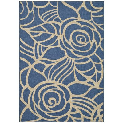 Laurel Blue & Beige Outdoor Area Rug Rug Size: 53 x 77