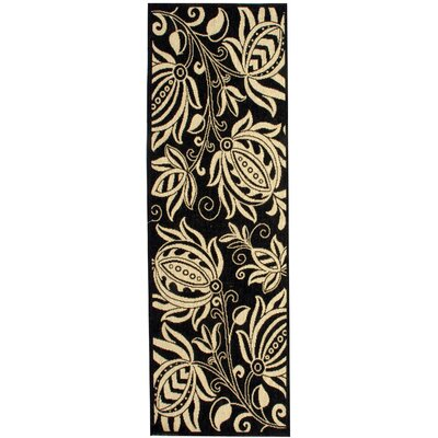 Laurel Black & Tan Indoor/Outdoor Area Rug Rug Size: Runner 24 x 911