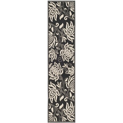 Laurel Black & Tan Indoor/Outdoor Area Rug Rug Size: Runner 24 x 67