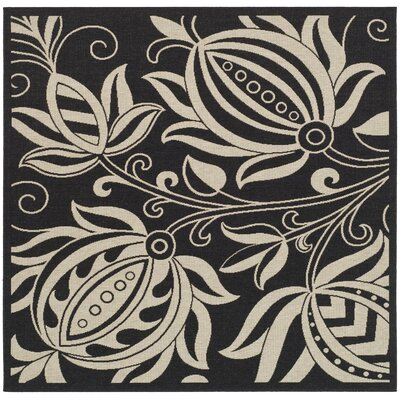 Laurel Black & Tan Indoor/Outdoor Area Rug Rug Size: Square 710