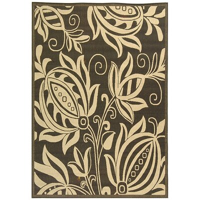 Laurel Black & Tan Indoor/Outdoor Area Rug Rug Size: 53 x 77