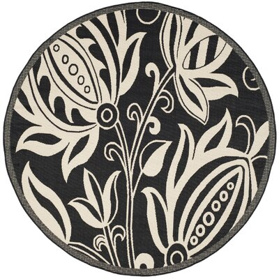 Laurel Black & Tan Indoor/Outdoor Area Rug Rug Size: Round 53