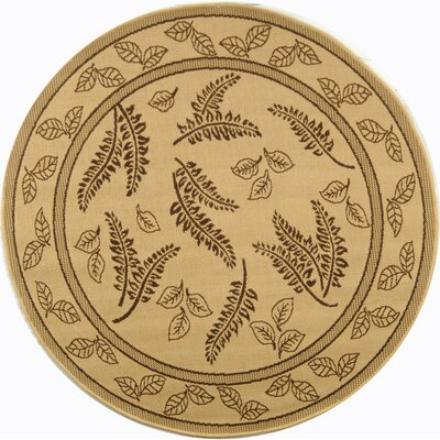 Laurel Natural/Brown Outdoor Rug Rug Size: Round 53