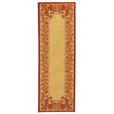 Laurel Natural/Red Rug Rug Size: Runner 23 x 12