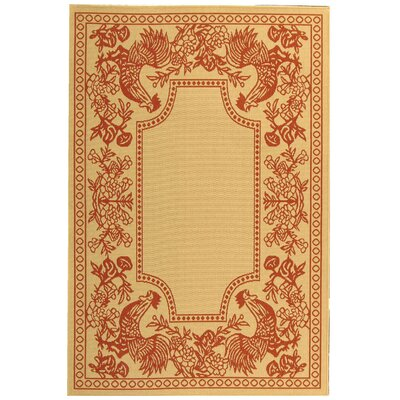 Laurel Natural/Red Rug Rug Size: Rectangle 53 x 77