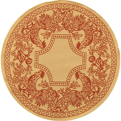 Laurel Natural/Red Rug Rug Size: Round 67