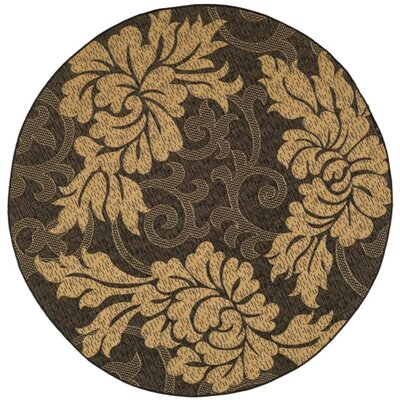 Laurel Black/Gray Indoor/Outdoor Area Rug Rug Size: Round 67