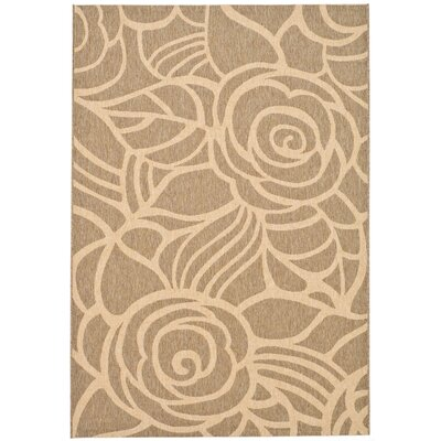 Laurel Floral Coffee & Sand Outdoor/Indoor Area Rug Rug Size: 53 x 77