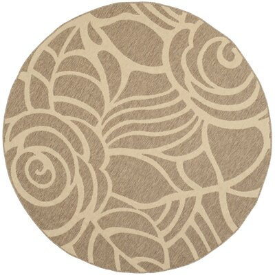 Laurel Floral Coffee & Sand Outdoor/Indoor Area Rug Rug Size: Round 67