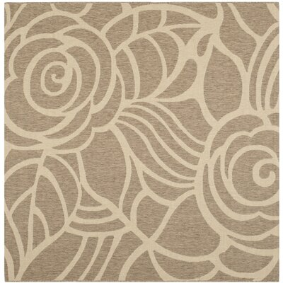 Laurel Floral Coffee & Sand Outdoor/Indoor Area Rug Rug Size: Square 67