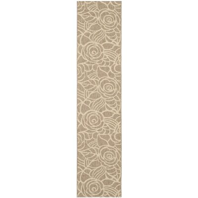 Laurel Floral Coffee & Sand Outdoor/Indoor Area Rug Rug Size: Runner 24 x 67