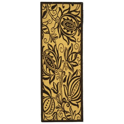 Laurel Natural / Brown Outdoor Area Rug Rug Size: Runner 27 x 5