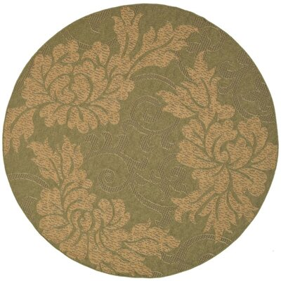 Laurel Green/Natural Outdoor Rug Rug Size: Round 67