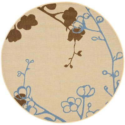 Laurel Brown/Blue Indoor/OutdoorArea Rug Rug Size: Round 53