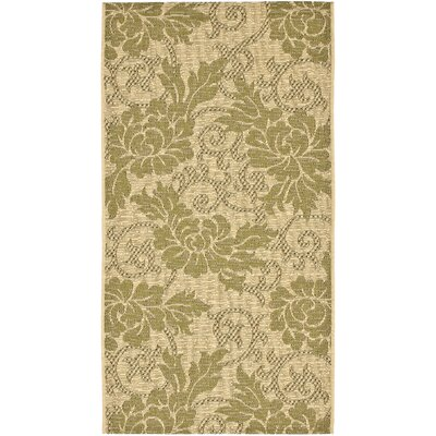 Laurel Creme/Green Outdoor Rug Rug Size: Rectangle 27 x 5