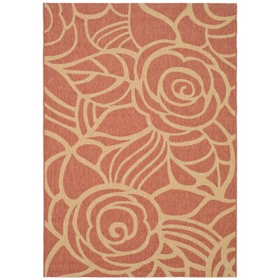 Laurel Rust/Sand Floral Outdoor Rug Rug Size: 4 x 57
