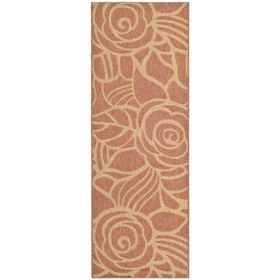 Laurel Rust/Sand Floral Outdoor Rug Rug Size: Runner 24 x 67