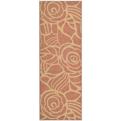 Laurel Rust/Sand Floral Outdoor Rug Rug Size: Rectangle 27 x 5