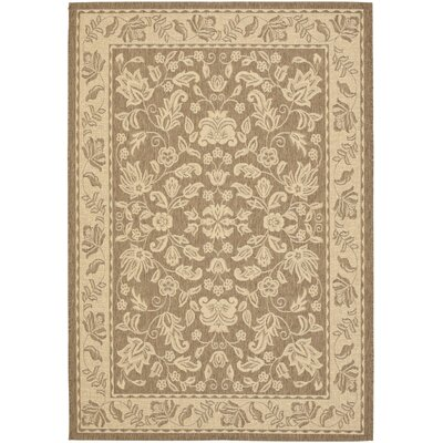 Laurel Creme / Brown Outdoor Area Rug Rug Size: 53 x 77