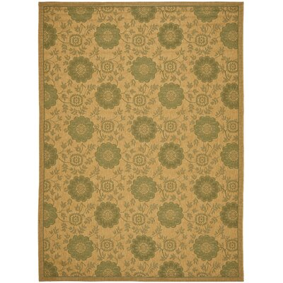 Laurel Natural/Green Outdoor Rug Rug Size: 67 x 96