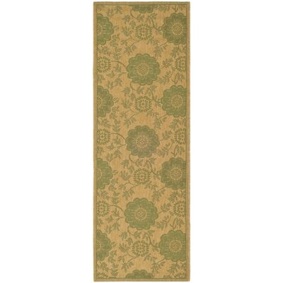 Laurel Natural/Green Outdoor Rug Rug Size: Runner 24 x 67