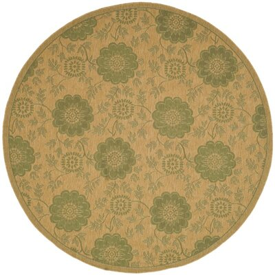Laurel Natural/Green Outdoor Rug Rug Size: Round 67