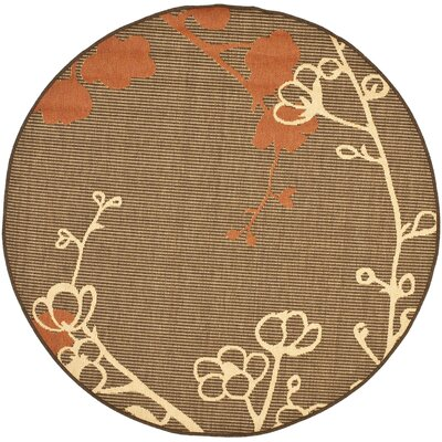 Laurel Brown Natural/Terracotta Outdoor Rug Rug Size: Round 53
